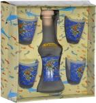 Carafe with 4 shots - Greece,Set with a carafe mat and four glasses,four shots for raki and bottle,