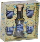 Carafe with 4 shots,greek flag,Set with clear carafe and four glasses - shots for raki and tsipouro,