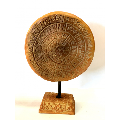 Phaistos disk with embossed base,brown phaistos disk with embossed base,disk with symbols,symbols,symbol,disk from crete,