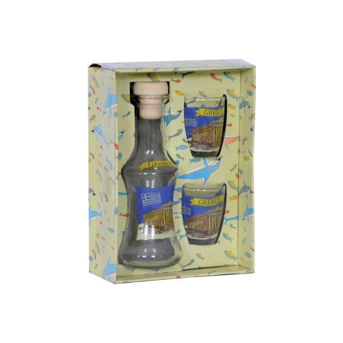 Carafe with 2 shots - Greece,Set clear carafe and two glasses,shots for raki,