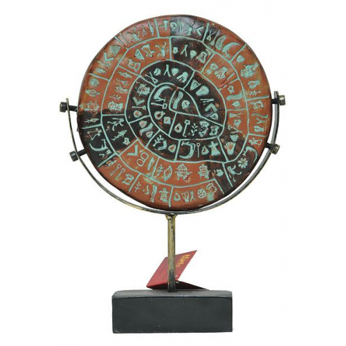 Turntable Phaistos disc,the disc of Festos,Phaistos disc with a special base for your office or living room,disc of festos 22cm,