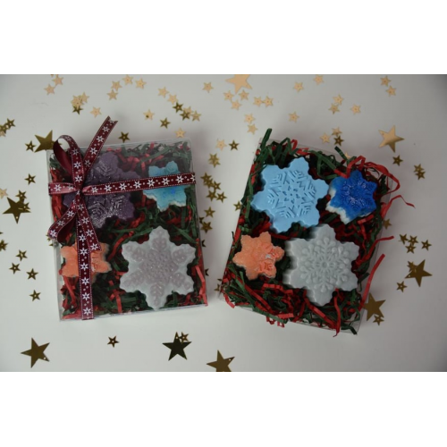 Box with snowflake soap,Set of 2 small and 2 large aromatic glycerin snowflakes soaps,Set of 2 small and 2 large aromatic glycerin soaps,